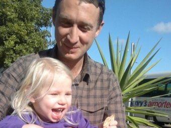 Greg Hutchings, 35, and his daughter Eeva Dorendahl.