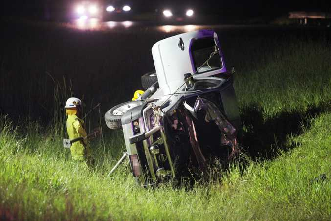 A man died in a single vehicle rollover approximately 800m south of the Forest Glen south bound exit of the Bruce Highway.