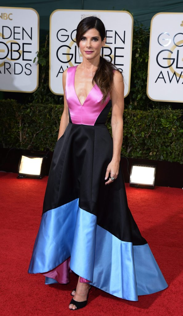 Actress Sandra Bullock arrives for the 2014 Golden Globe Awards at the Beverly Hilton, in Beverly Hills, California, USA.