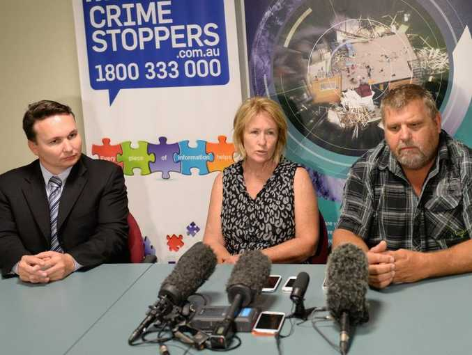 Detective Senior Sergeant Scott Moon with Kurtis West's parents, L-R Roxanne and Kelvin West at the media conference on the death of Kurtis. Photo: Chris Ison / The Morning Bulletin