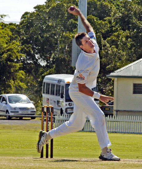 FIVE SCALPS: Alstonville bowler Jason Caught sends another one down during day one of the important LJ Hooker League clash with Ballina Bears.