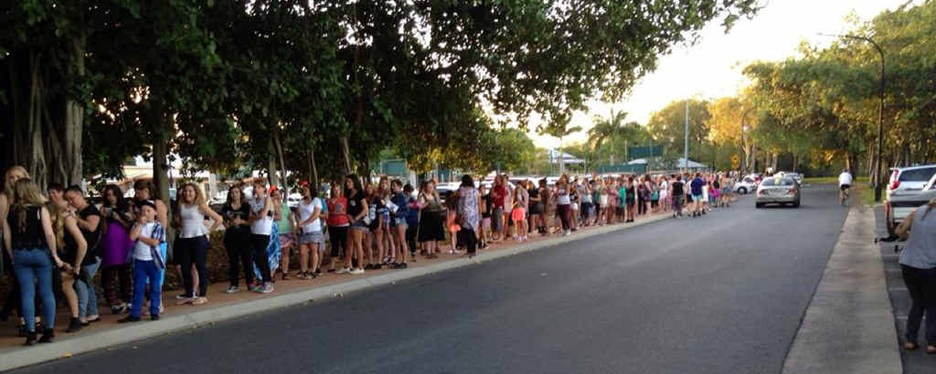 THE LONG WAIT: Excited, eager and possibly annoyed fans wait ever so patiently to enter Rockhampton's Hegvold Stadium to see the highly anticipated Justice Crew. For some, the wait to get into the stadium was more than two hours.