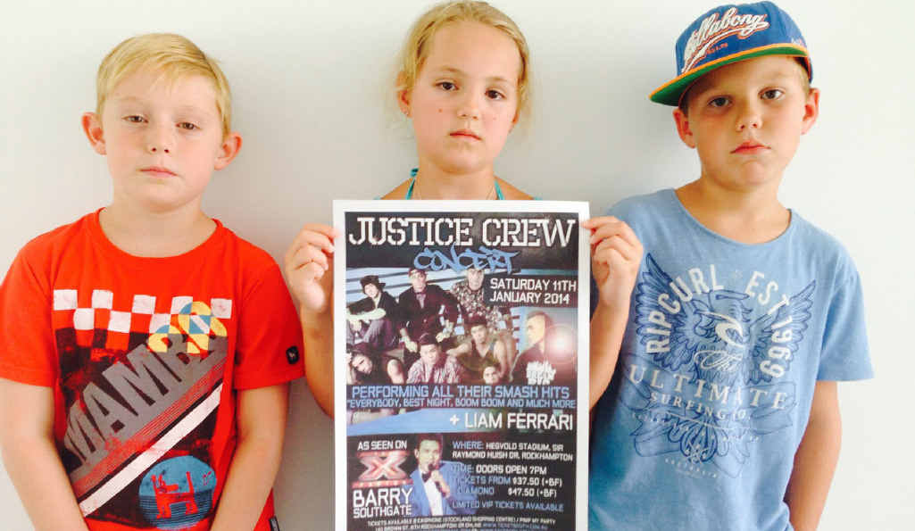 NO JUSTICE: Miller Breslin (9), Morgan Lewis (8) and Jace Bennet (7)feel a little bit disheartened they didn't get to see Justice Crew.
