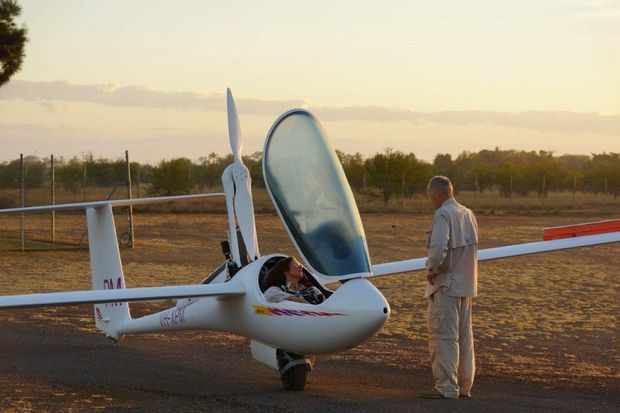 Darling Downs Gliding Club member Pam Kurstjens prepares for take-off.