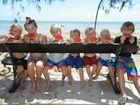 Keeping cool at Pialba Beach are William, 6, and Anna Green, 10, James Hartog, 6, Micah Green, 4, Yoshi, 4, and Matthew Hartog, 2, and Noah Green, 8.
