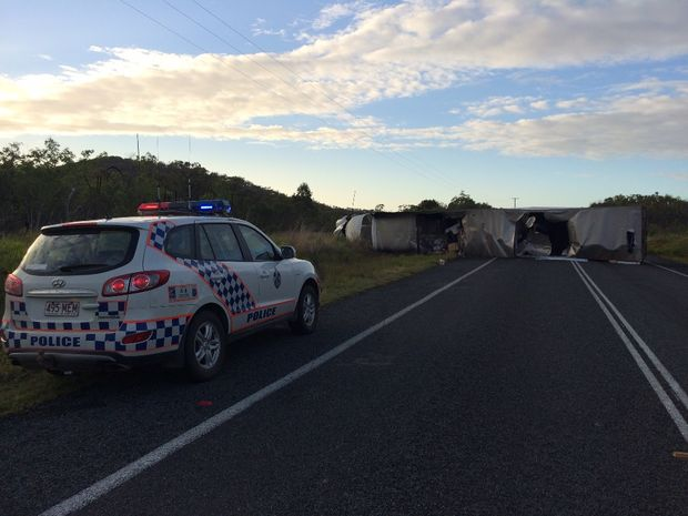 The scene of a crash on the Bruce Highway about 15kms south of Clairview which involved two trucks and three cars.