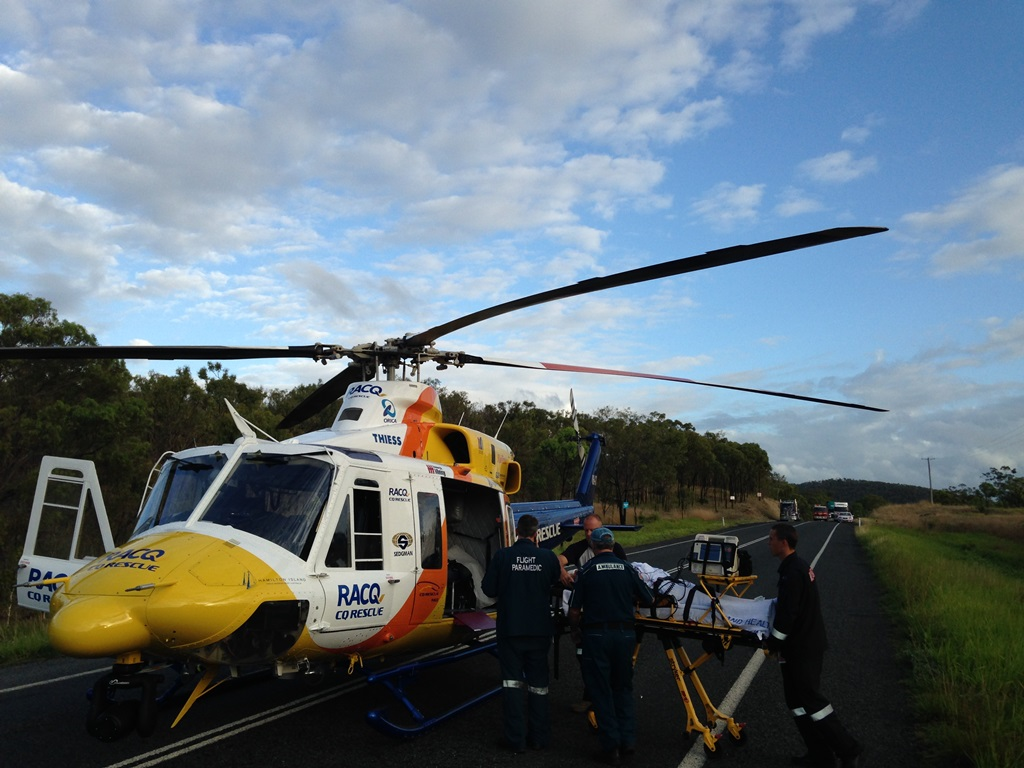 The scene of an accident on the Bruce Highway about 15km south of Clairview involving a truck and three or four vehicles.
