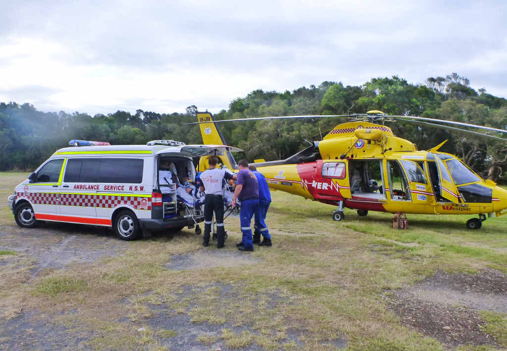 CRITICAL: The injured man was airlifted to Gold Coast hospital.