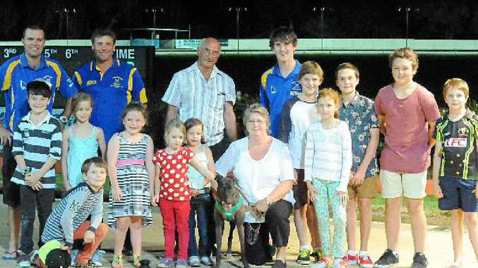 WINNING RUN: Bentley's Kim Gooding (centre) and her charge Kulu Mystery relax with race sponsors after a recent win at Lismore. Gooding will be hoping for more success for her campaigner at tonight's meeting.