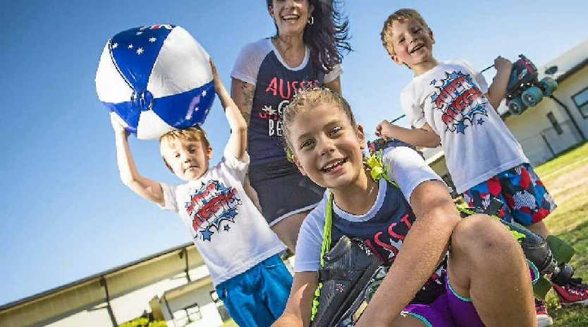 SUMMER LOVIN': Toby Ord, 5, Jade Thomas, 8, Anita Rienks and Blake Thomas, 5, are excited for this Friday's roller disco.
