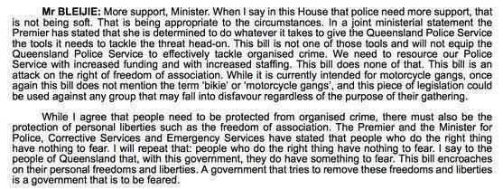 Hansard from 2009 shows Jarrod Bleijie opposing laws similar to VLAD.