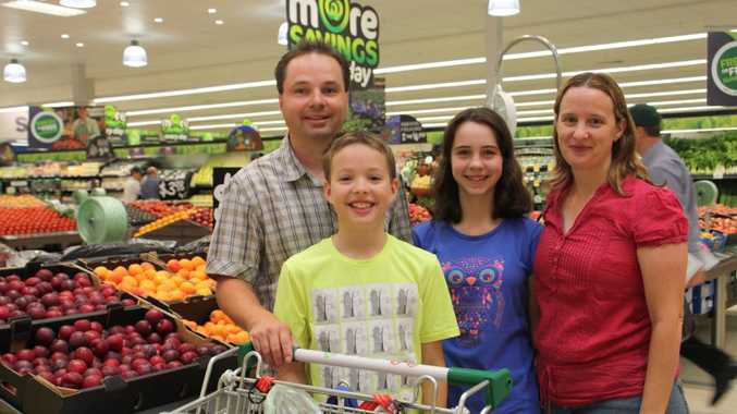 Enjoying a trip around the brand new Drayton Woolworths store are (from left) Cloin, Kirra, Caleb and Rebecca Thompson. Photo Megan Masters / The Chronicle