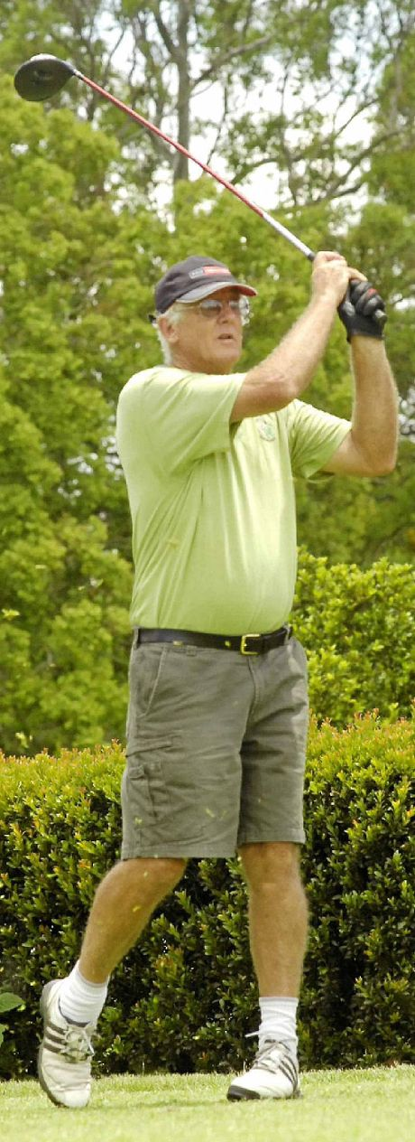 ABOVE LEFT: Rappville's Malcolm Olive strikes his opening tee shot of the day on the first hole during the competition.