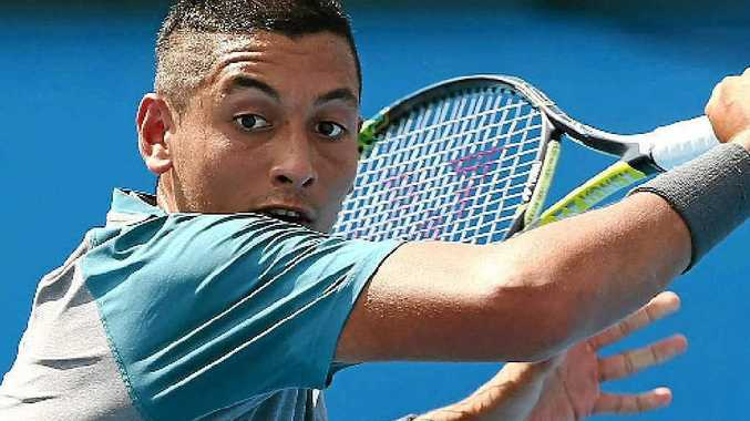 Young Australian Nick Kyrgios during his first-round win over Benjamin Becker yesterday.