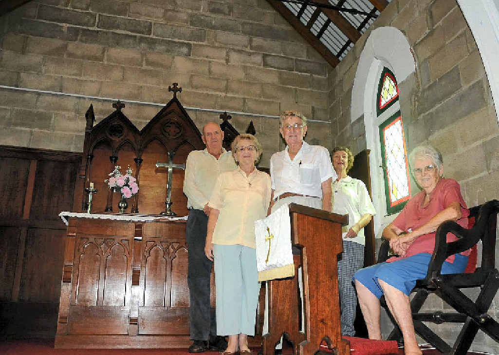 REVAMP: Fred Scott, Gwen and Nev Taylor, Lexie Scott and June Evans welcome the renovations at Ma Ma Creek Anglican Church.