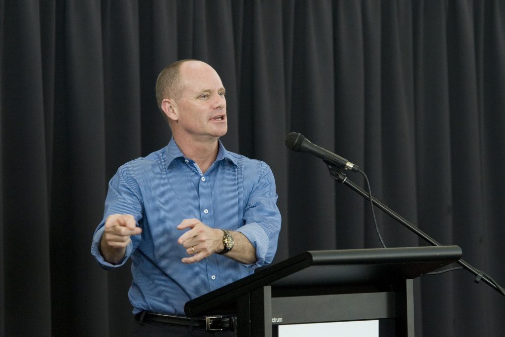Premier Campbell Newman speaks at the Queensland government community cabinet meeting at Sacred Heart Primary School, Sunday, November 24, 2013. Photo Kevin Farmer / The Chronicle