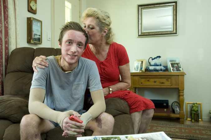 Matthew Richards and his mum Johanna Wallace.