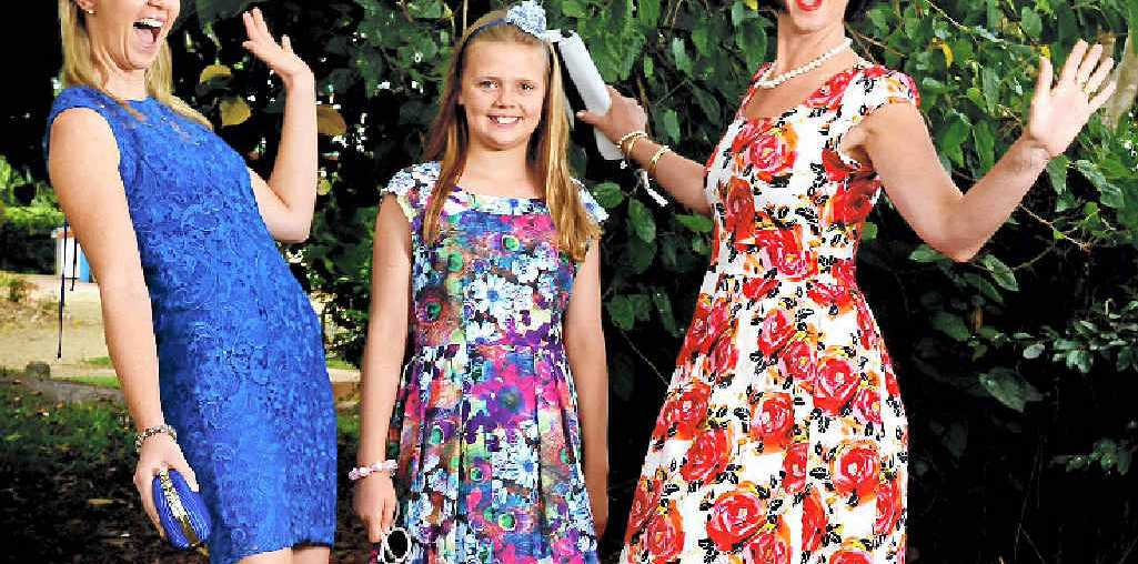 FROCK ON: Jane Thomson (blue) of Eltham with daughter Eloise Payne and Angela McCormick (white floral) of Alstonville, dressed by Candy Lane, Alstonville for the upcoming Iris Nielsen Ladies Day at The Ballina Jockey Club.