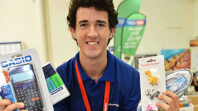SHOPPING: Officeworks staff member Liam Pinkstone is familiar with the back-to-school items that will be on many students' lists.