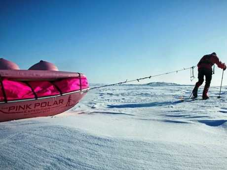 Dr Geoff Wilson and the Pink Polar Expedition 'boob sled'.