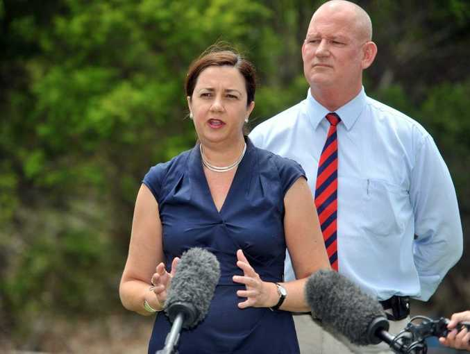 State Opposition leader Annastacia Palaszczuk and MP for Rockhampton Bill Byrne at the launch of a petition to stop the sale of the Gladstone port.