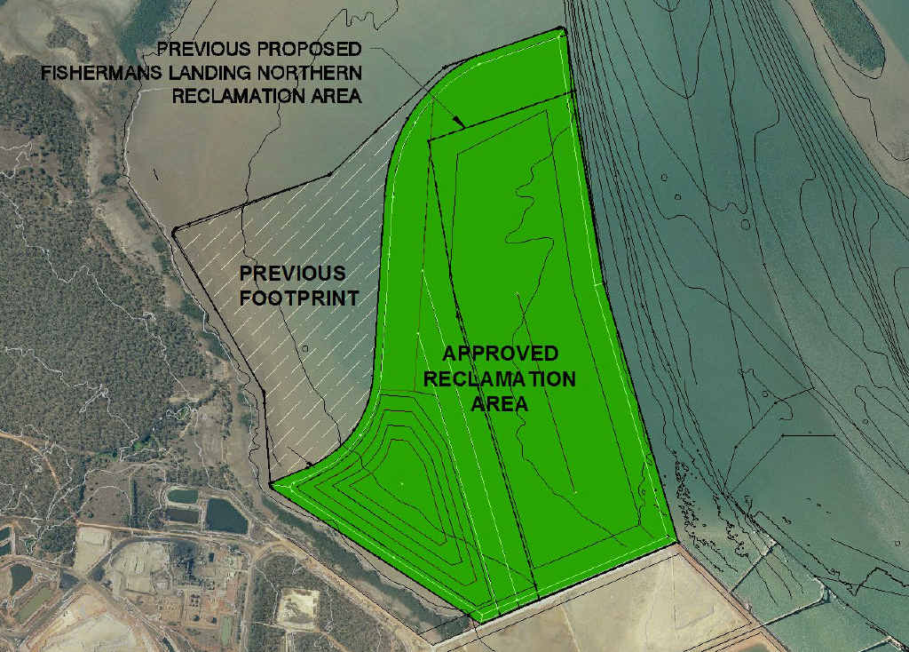 The reclamation area shows the 400ha shape and the approved 300ha shape.