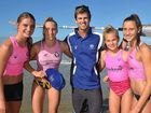 TAKING TO WATER: Rhys Drury with some of his star students (from left) Laura Pettigrew, Chloe Travers, Brittany Stark and Shay Travers.