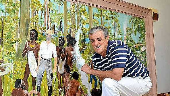 BUDERIM CENTENARY: Simon Whittle gets a close-up look at the 50-year-old unfinished painting created by Harold Chester.