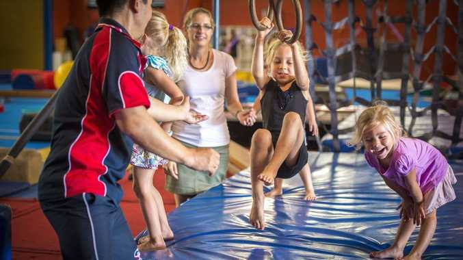 Lily Coy, 5, at the Gladstone Gymnastics Club sign-on open day.
