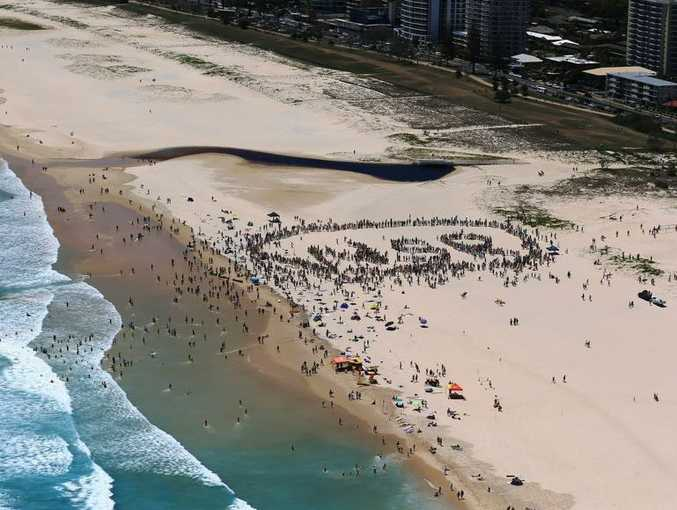 Aerial view of the 2500 people mapping out WSR - World Surfing Reserve - as part of Sunday January 19, North Kirra rally.