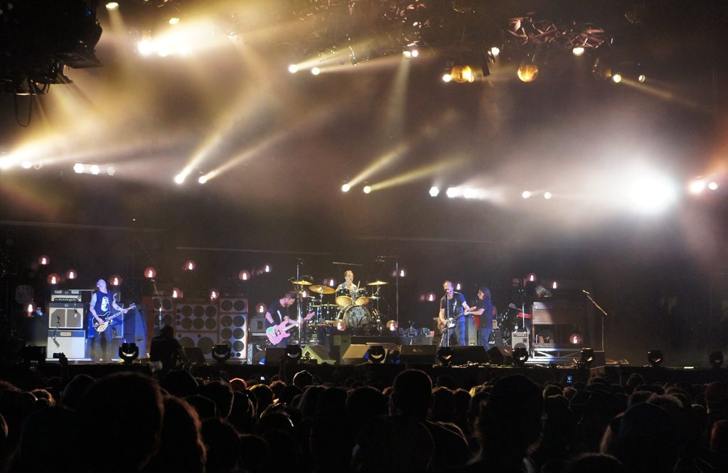 Fans enjoy a two-hour set by Pearl Jam at the Gold Coast Big Day Out.