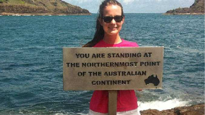 MADE IT: NewsMail reporter Emily Prain standing at the tip of Australia.