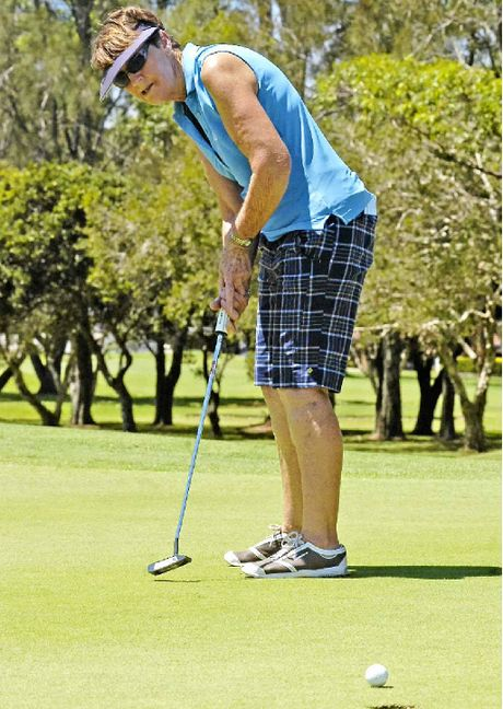 KEEP GOING: Home player Trish Hensel sends a putt on its way to the final hole at Ballina Golf Club.