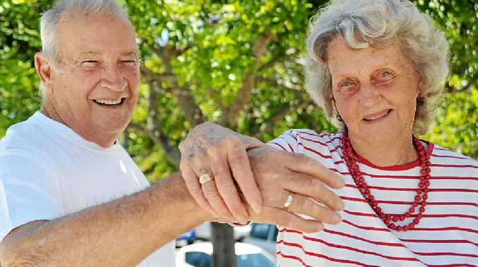 HAND IN HAND: John and Shirley Ensor, of Caloundra, bought new rings to commemorate their 60th wedding anniversary. INSET: On their wedding day January 16, 1954.