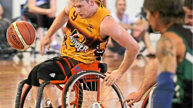 ON THE REBOUND: Rolling Thunder's Steven Elliott in action during the Suncoast Spinners Wheelchair Basketball Tournament at the University of the Sunshine Coast Stadium, Sippy Downs.