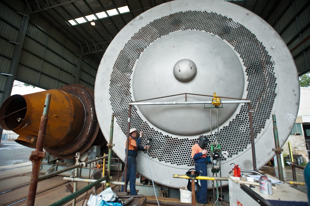 GOOD JOB: A massive heat exchanger nears completion at W E Smith Engineering.