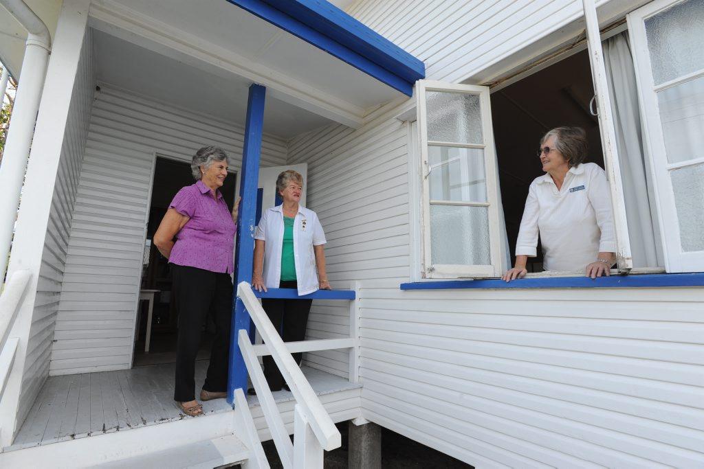 QCWA Hervey Bay officials Joy Coulson, Irene Hamilton and Barbara Hargreaves at the Torquay hall last year.