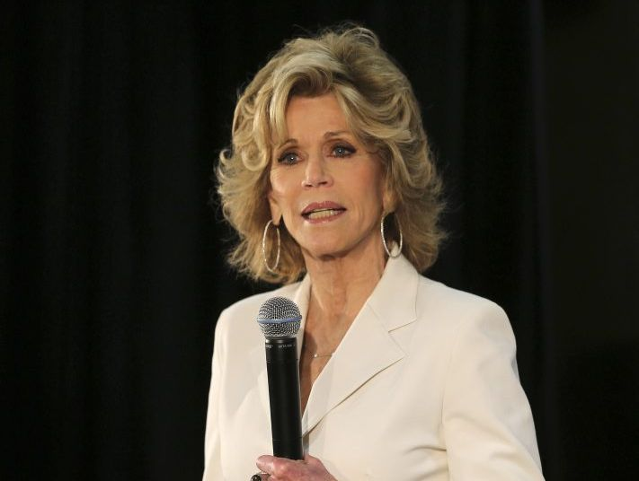 Academy Award winning actress and fitness icon Jane Fonda speaks during the launch of a re-branding of a fitness center in Sydney, Australia, Tuesday, Jan. 21, 2014.