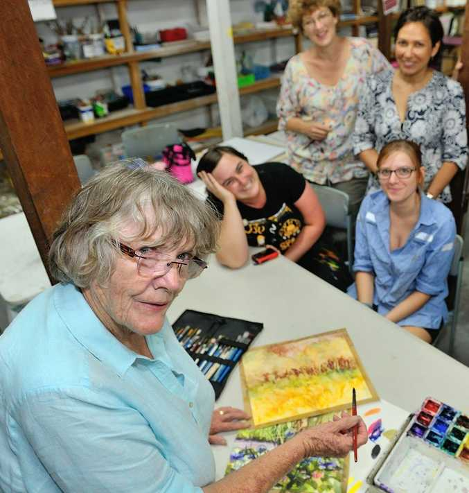 ENJOY IT WHILE WE CAN: Local artist Irene Sparks holds a class at the Community Arts On Goondoon.