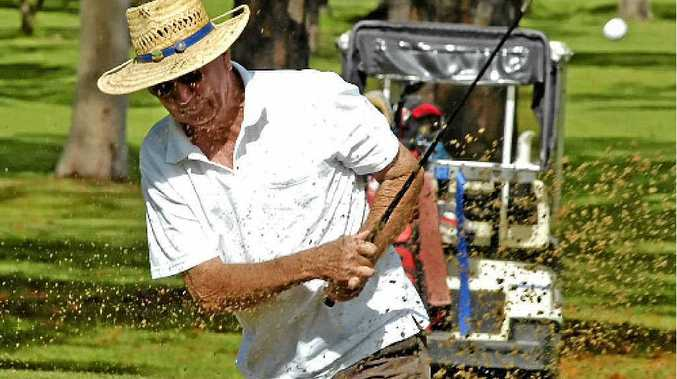 ABOVE: Earle Durheim gets out of the trouble from the sand during the latest competition at Lismore Workers Golf Club.