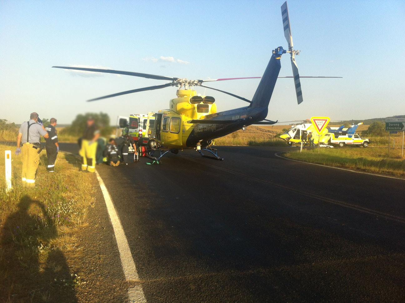 The RACQ CareFlight helicopter airlifted two people from this crash on the Bunya Highway.