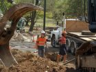 Major work continues on the restoration of the storm water drain in Queens Park.