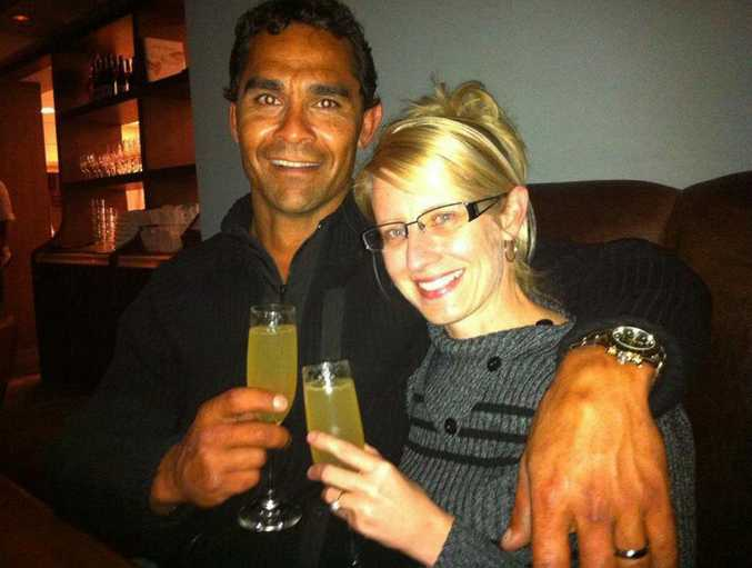Jason Toby and wife Britt Potter. Jason, a former Mount Morgan resident, died after being assaulted in Queens St, Brisbane.
