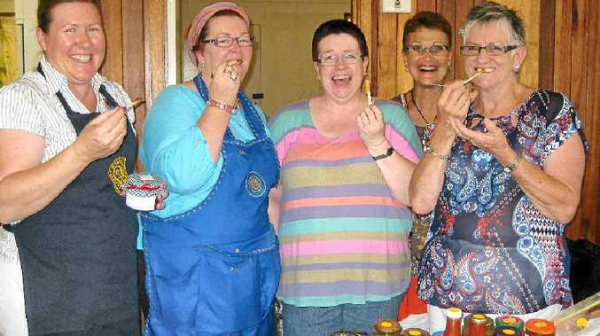 TASTE TEST: CWA members Jacquie Strudwick, Cate Field, Janet Twohill, Noelene Gillies and Lynn Davidson sampling Chilli Jam.