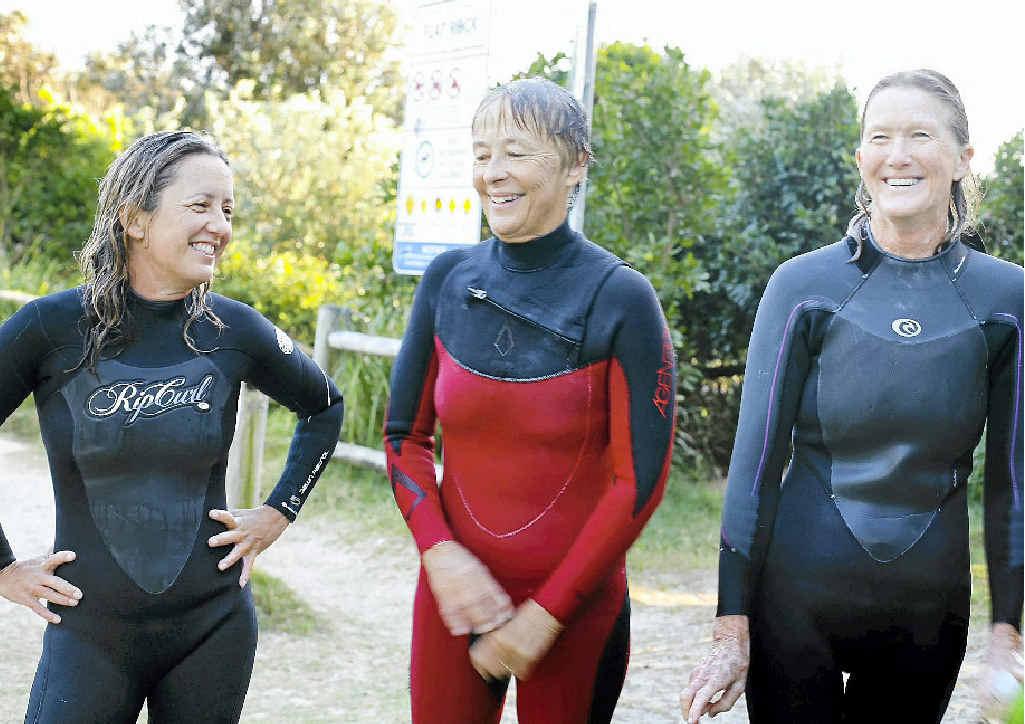 SURFING ELDERS: Dr Carol Stevenson, Marg Bryant and Sally Petrie, who feature in Lennox Head resident Michelle Shearer's film.
