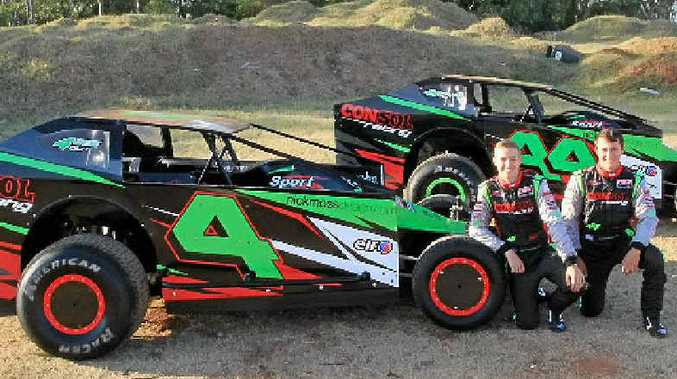 DRIVING FORCE: Mitchell Gee (left) and Brandon Rawlings are looking forward to impressing at this Saturday's V8 Dirt Modified competition at Lismore.