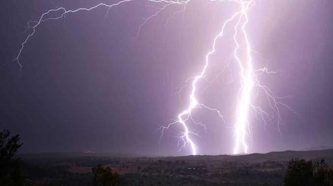 Lightning over the Lockyer Valley at 7 o'clock last night.