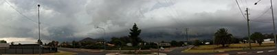 The storm as it rolled into Toowoomba. Taken from Mackenzie and Spring Sts.
