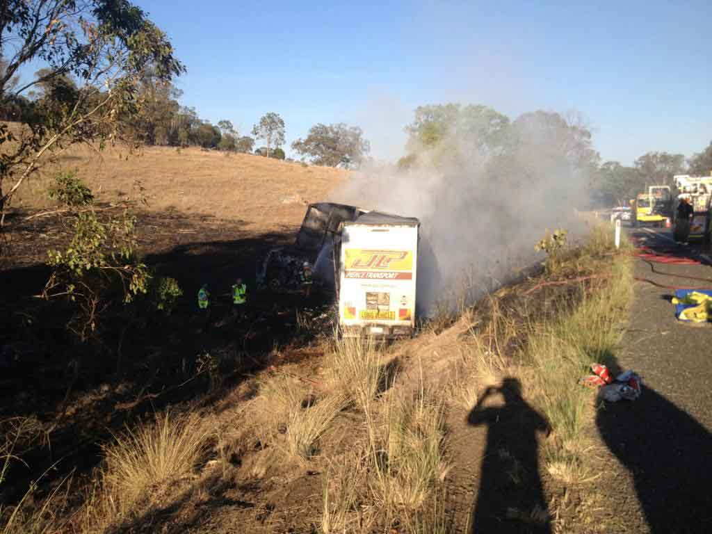 A truck driver was killed when the truck he was driving crashed and caught fire south of Warwick.