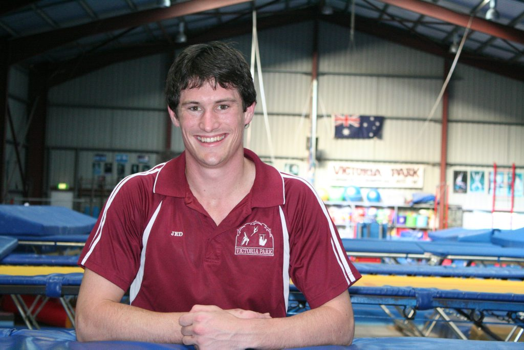Rockhampton gymnast Jarrod Spear flies high after being named the Queensland gymnast of the year. Photo: Austin King / The Morning Bulletin